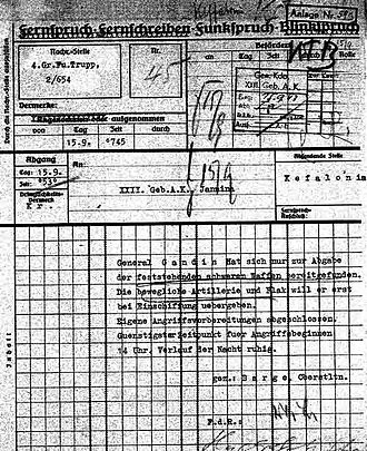 Massacre of the Acqui Division - Barge's telegram to his superiors, reporting Gandin's decision to hand over only heavy weaponry, and the German troops' readiness to attack
