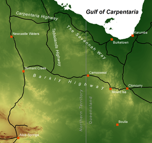 Barkly Tableland - Map of the region showing major roads and selected towns. The background is an elevation model so the tableland's extent can be identified as the rather uniformly coloured darker green area (corresponding to an elevation of 200–300 metres) around the appropriately named Barkly and Tableland Highways.