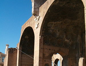 Basilica of Maxentius - Detail of the coffered vaults of concrete