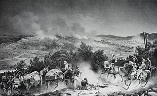 Black and white print shows several horsemen and two pack mules in the foreground while a battle rages in the background.