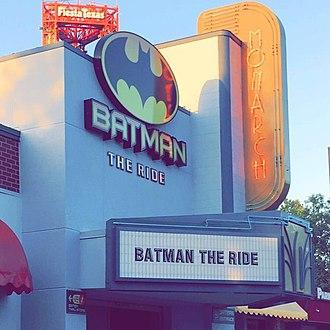 Batman: The Ride (S&S Free Spin) - Batman: The Ride's entrance in Rockville