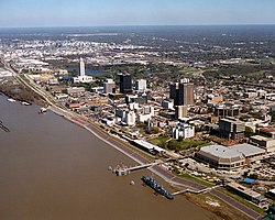 Baton Rouge Louisiana waterfront aerial view
