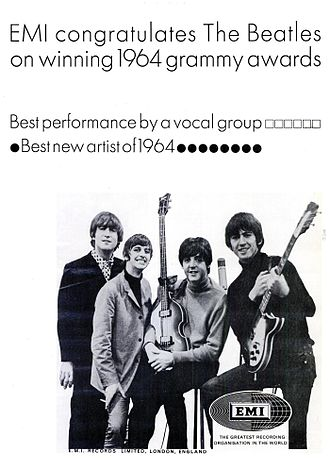 EMI - Trade ad of congratulations to the Beatles for their 1964 Grammys.