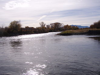 Jefferson River - Confluence of Beaverhead and Big Hole Rivers forming the Jefferson near Twin Bridges, Montana