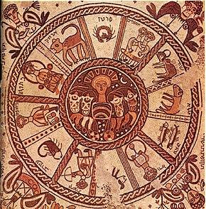 Lo zodiaco rappresentato in un mosaico del VI secolo nella sinagoga di Beit Alfa, oggi in Israele