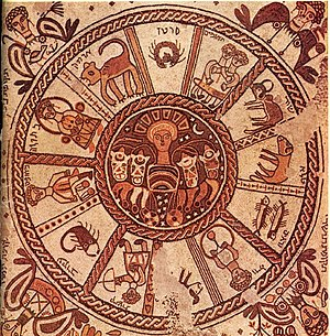 "Jezreel Valley - Mosaic pavement of a 6th-century synagogue at Beit Alpha. It was discovered in 1928. Signs of the zodiac surround the central chariot of the Sun (a Greek motif), while the corners depict the 4 ""turning points"" (""tekufot"") of the year, solstices and equinoxes, each named for the month in which it occurs—tequfah of Tishrei, tequfah of Tevet, tequfah of Nisan, tequfah of Tamuz."