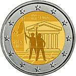 Belgium 2 € coin (2018), 50th anniversary of May 1968 student revolt.jpg