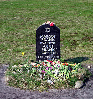 The symbolic grave of Margot and Anne Frank at...
