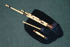 Robert Bewick - These Northumbrian smallpipes were made by John Dunn, and belonged to Robert Bewick. They have an inscription on the dronestock ferrule stating their provenance. It is likely that this simple chanter is not the original, which was probably keyed.