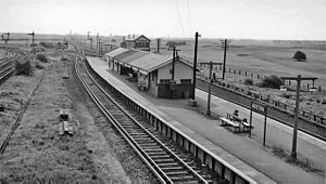 Bidston railway station - The station in 1961, facing towards Leasowe. The lines to the sidings and engine shed are in front of the signals to the left. Bidston Dee Junction signal box is behind the platform.