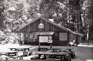Camp Pico Blanco - Shown in 1962, the original Bing Crosby Kitchen was built in 1955. The Haywood Dining Lodge encloses the front of the building.
