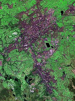 Darwen - NASA Landsat 7 image of Blackburn (North) and Darwen (South)