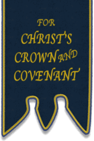 "Reformed Presbyterian churches - Traditional ""Blue Banner"" insignia used by Reformed Presbyterians"