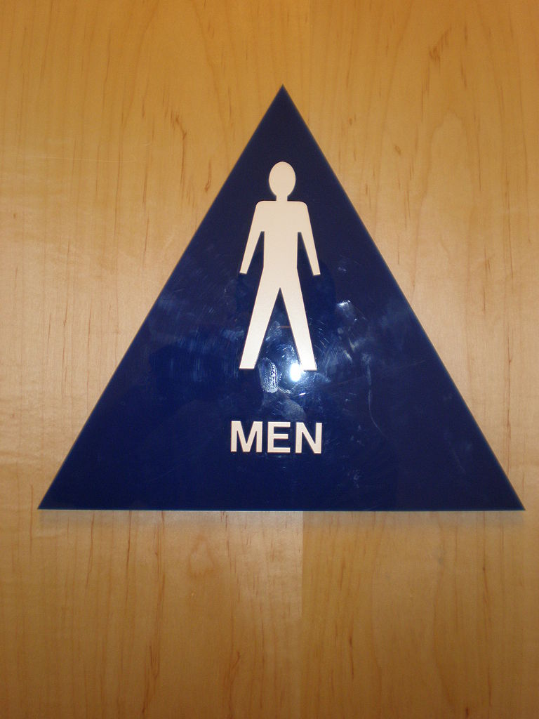 File Blue Plastic Triangle Male Restroom Sign Jpg Wikimedia Commons