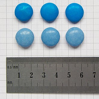 Brilliant Blue FCF - In the United Kingdom, Smarties chocolates were colored with Brilliant Blue FCF (top) until 2008, later being replaced with a natural spirulina coloring (bottom).