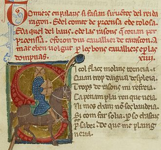 Tomier and Palaizi - The vida (text in red) of Tomier and Palaizi with an accompanying picture of a knight