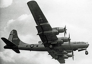 53d Weather Reconnaissance Squadron - 53d WRS Boeing WB-50D weathership landing at RAF Burtonwood in 1956. The observation and sampling station is on top of the rear fuselage