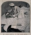 Boer War; a nurse lifts the head of a wounded man lying in a Wellcome V0015587.jpg