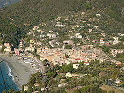 Bonassola, the beach, town and a railway tunnel