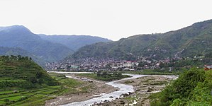 Mountain Province - The Chico River with the capital town of Bontoc in the background