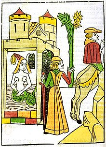 Raymond walks in on his wife, Melusine, in her bath and discovers she has the lower body of a serpent. Illustration from the Jean d'Arras work, Le livre de Mélusine (The Book of Melusine), 1478.