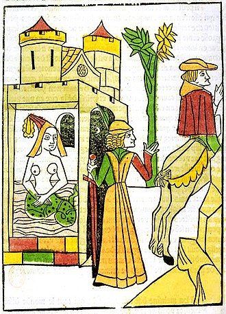 Melusine - Raymond walks in on his wife, Melusine, in her bath and discovers she has the lower body of a serpent. Illustration from the Jean d'Arras work, Le livre de Mélusine (The Book of Melusine), 1478.