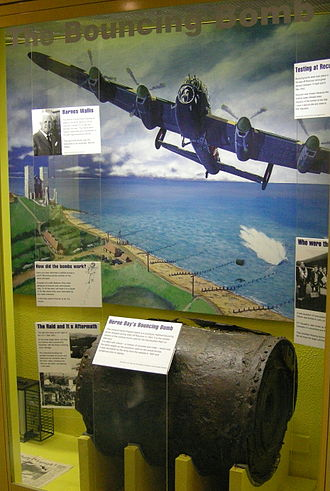 Bouncing bomb - Remains of a Highball test prototype recovered from Reculver in 1997, now at Herne Bay Museum