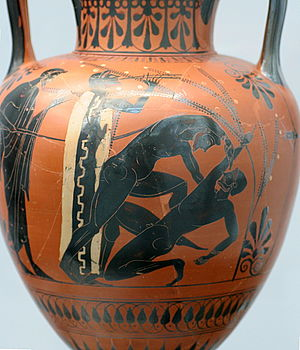 Ancient Greek boxing - The right boxer signals giving up by raising his finger high (ca. BCE 500).
