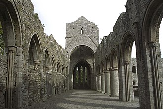 Boyle Abbey - The interior of Boyle Abbey, looking east through the nave