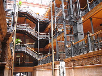 Bradbury Building - Interior filigree ironwork in the central atrium