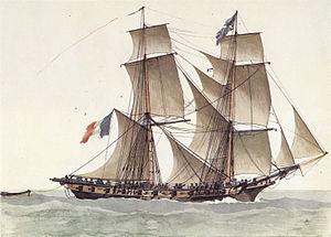 HMS Peterel (1794) - ''Ligurienne'' under way.