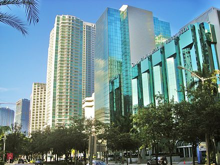 Downtown is South Florida's main hub for finance, commerce and international business. Brickell Avenue has the largest concentration of international banks in the U.S. Brickell1.JPG