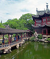 Bridge, pond and building at Yuyuan Gardens.jpg