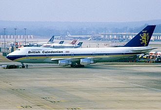 British Caledonian - A British Caledonian Boeing 747-200M at Gatwick in 1986.