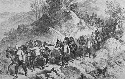 Departure of the British expeditionary force from Magdala (The Illustrated London News, 1868) British departure.jpg