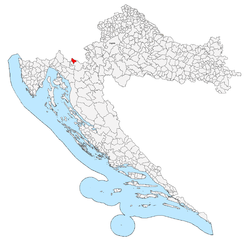 Municipal territory, shown in red, within Croatia