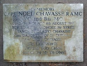 Noel Godfrey Chavasse - Noel's memorial at the Chavasse family grave at Bromsgrove
