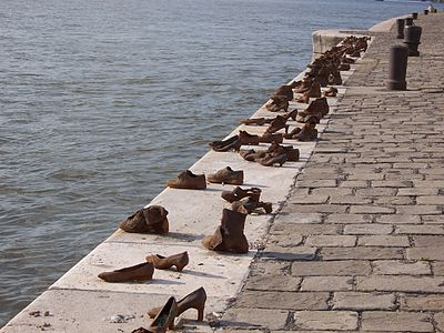Budapest jewish WWII memorial shoes on river bank.jpg