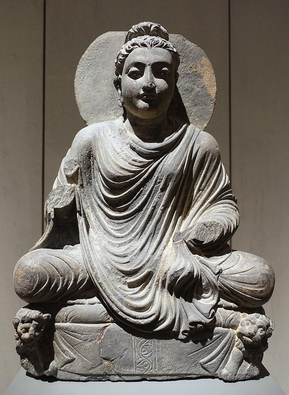 Buddha on Lion Throne, Takht-i-Bahi, Gandhara, 2nd-3rd century AD, schist - Ethnological Museum, Berlin - DSC01656
