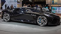 bugatti chiron wikipediathe bugatti la voiture noire at the geneva motor show note the six exhaust pipes at the rear of the car and the illuminated bugatti lettering