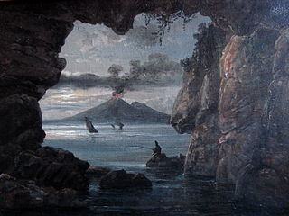Grotto by the Bay of Naples. Moonlight