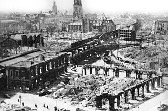 Strategic bombing during World War II - View of Rotterdam after the German bombing of the city.
