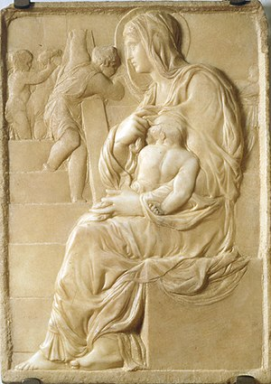 Michelangelo - The Madonna of the Stairs (1490–92), Michelangelo's earliest known work in marble