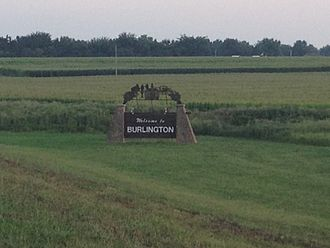 Burlington, Kansas - Welcome sign on north side of town (2013)