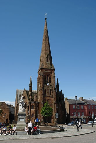 Dumfries - Burns statue and Greyfriars Church currently under development