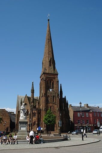 Burns statue and Greyfriars Church currently under development Burns Statue and Greyfriars, Dumfries.JPG