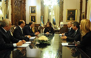 Argentina–Azerbaijan relations - Argentine President Cristina Fernández de Kirchner meeting with Azerbajani Foreign Minister Elmar Mammadyarov in Buenos Aires