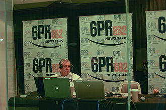 6PR - Harvey Deegan broadcasting from an outside broadcast studio during CHOGM 2011