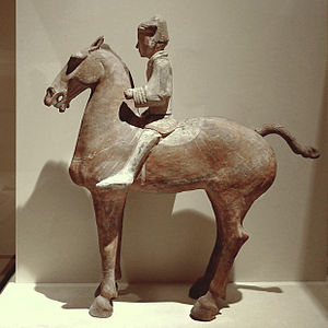 Chao Cuo - A Western Han Dynasty ceramic model of a cavalryman