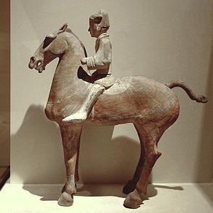 Chao Cuo - A Western Han Dynasty ceramic model of a cavalryman